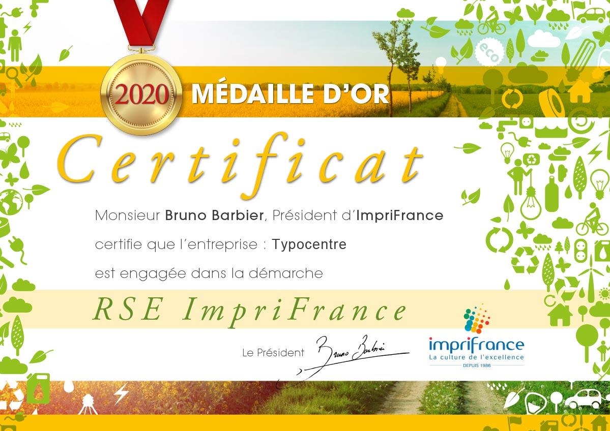 Certificat RSE Typocentre Médaille d'Or